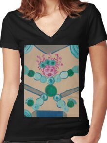 Dolly with the Hole in Her Stocking Women's Fitted V-Neck T-Shirt