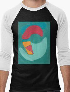 Red Duck on Green Background Men's Baseball ¾ T-Shirt