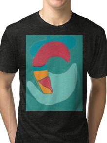 Red Duck on Green Background Tri-blend T-Shirt