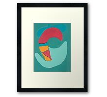 Red Duck on Green Background Framed Print