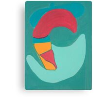 Red Duck on Green Background Canvas Print