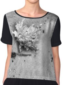 Floating Leaf - Black and White Chiffon Top