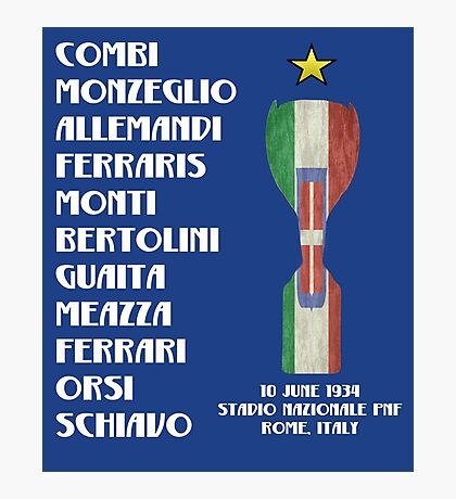 Italy 1934 World Cup Final Winners Photographic Print