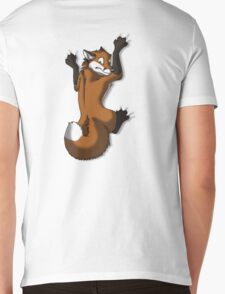 Clinging Red Fox Mens V-Neck T-Shirt