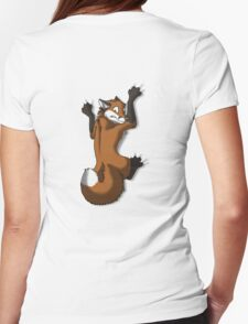 Clinging Red Fox Womens Fitted T-Shirt