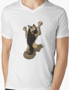 Clinging German Shepherd Dog Mens V-Neck T-Shirt