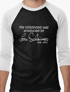 My Childhood was Produced by Lou Scheimer - White Font Men's Baseball ¾ T-Shirt