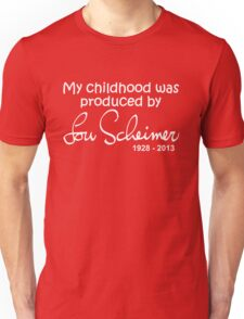 My Childhood was Produced by Lou Scheimer - White Font Unisex T-Shirt