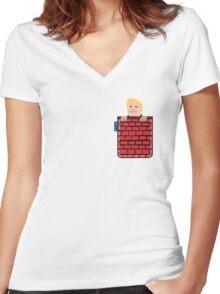 tronald dump wall pocket tee Women's Fitted V-Neck T-Shirt