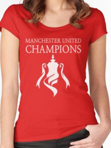 Manchester United Champions Fa Cup 2016  Women's Fitted Scoop T-Shirt