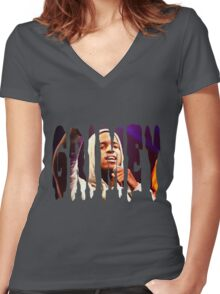 Lil Reese Grimey Women's Fitted V-Neck T-Shirt