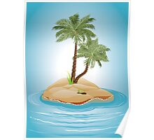 Palm Tree on Island 3 Poster