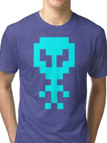 Pixel Space Alien - Light Blue Tri-blend T-Shirt