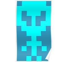 Pixel Space Alien - Light Blue Poster
