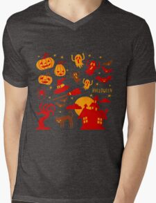 Happy halloween card design related elements Mens V-Neck T-Shirt