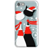 Amusing Christmas cats graphics iPhone Case/Skin