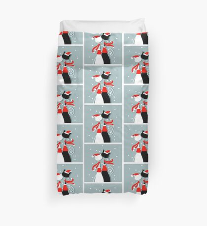 Amusing Christmas cats graphics Duvet Cover