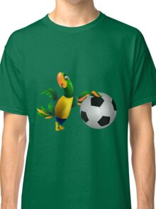 Cute Brazilian parrot leaning on a football Classic T-Shirt