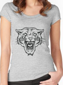 Angry tiger silhouette head Women's Fitted Scoop T-Shirt