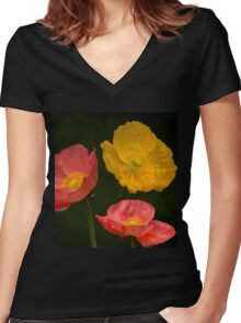 3 poppies Women's Fitted V-Neck T-Shirt