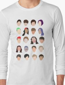 youtuber flat design collage Long Sleeve T-Shirt