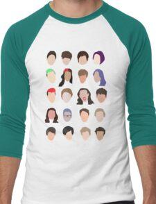 youtuber flat design collage Men's Baseball ¾ T-Shirt