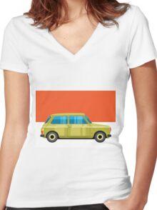 Mini Cooper - pop art car Women's Fitted V-Neck T-Shirt