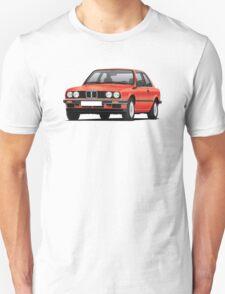 BMW E30 (3-serie) illustration, red Unisex T-Shirt