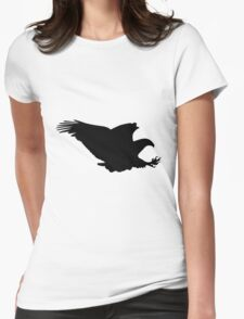 Black eagle flying silhouette Womens Fitted T-Shirt
