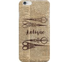 Antique Scissors Old Book Page Design iPhone Case/Skin