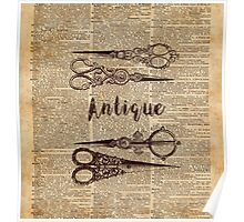Antique Scissors Old Book Page Design Poster