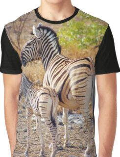 Mother and Baby Zebra Graphic T-Shirt
