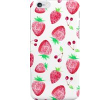 Strawberry watercolor illustration iPhone Case/Skin