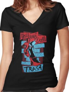 New York Dolls Women's Fitted V-Neck T-Shirt