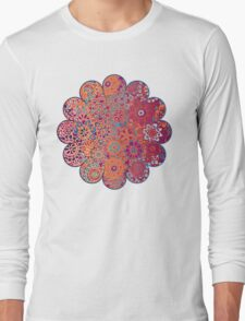 Psychedelic Ombre Flower Doodle Long Sleeve T-Shirt