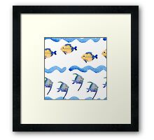 watercolor blue wave pattern, Framed Print