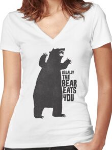 The Bear Eats You Women's Fitted V-Neck T-Shirt