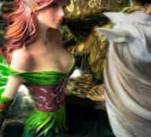 Glimpse of a woodland fairy by the stream Sticker