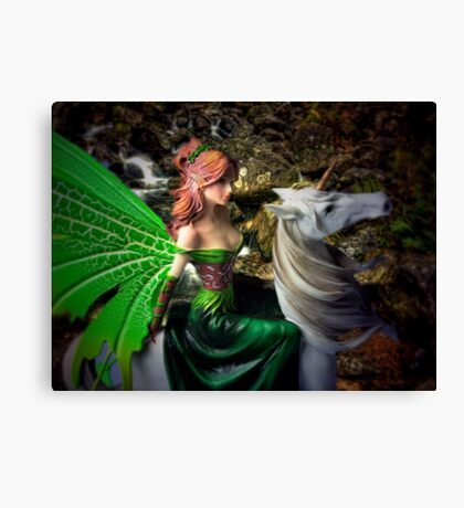 Glimpse of a woodland fairy by the stream Canvas Print