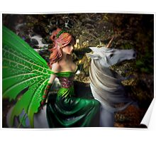 Glimpse of a woodland fairy by the stream Poster