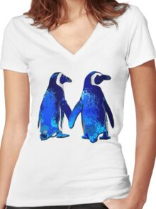 Tux love Women's Fitted V-Neck T-Shirt