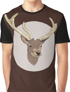 Deer head illustration print Graphic T-Shirt