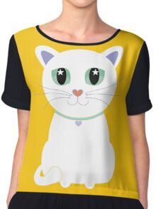 Only One White Kitty Chiffon Top