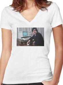 Steve Jobs and the Lisa Women's Fitted V-Neck T-Shirt