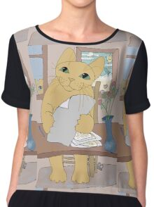 IS THAT CAT A WRITER? Chiffon Top
