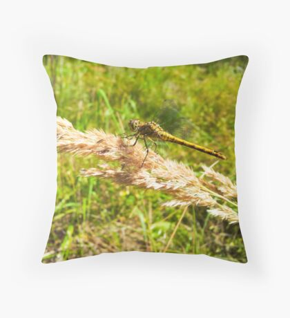 Yellow dragonfly alight on straw Throw Pillow