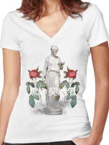 kanji greek vaporwave aesthetics Women's Fitted V-Neck T-Shirt