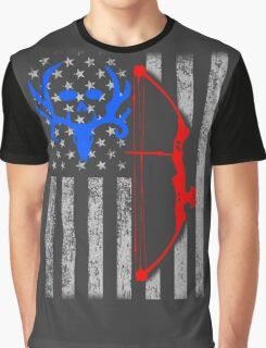 american bow hunting USA flag Graphic T-Shirt
