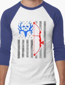american bow hunting USA flag Men's Baseball ¾ T-Shirt