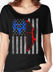 american bow hunting USA flag Women's Relaxed Fit T-Shirt